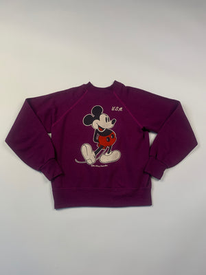 1980's Classic Mickey Mouse Purple Sweatshirt - S