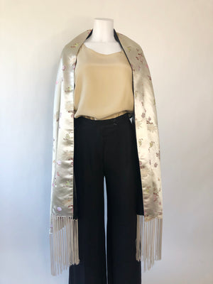 Ivory & Black Satin Fringed Opera Scarf