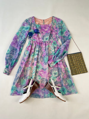 1960's Pastel Floral Babydoll Dress