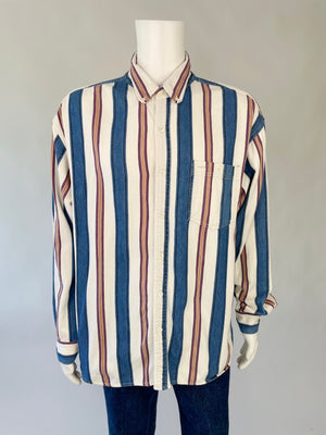 1990's Ivory & Blue Striped Oxford Shirt