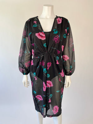1980's Sheer Floral Cover-Up