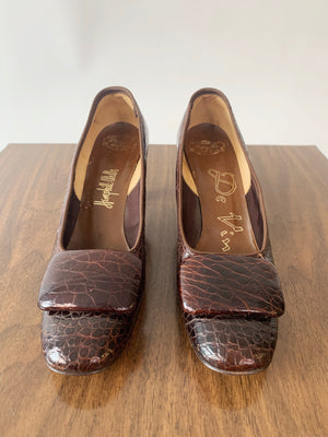Brown Mock-Croc Pumps