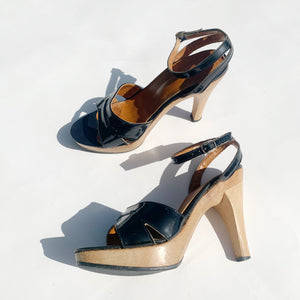 70's Patent Leather & Wood Sandals