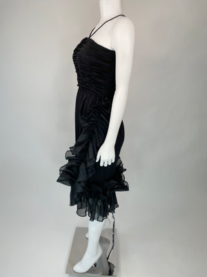 1980's Ruched Cocktail Dress w/ Dramatic Ruffle Hem