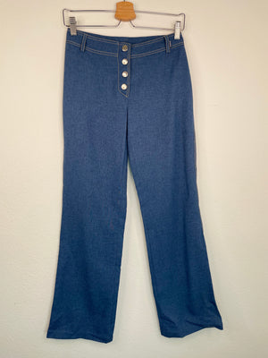 1990's French Polyester Hip Hugger Bellbottoms