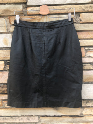 80's Black Leather Pencil Skirt - L