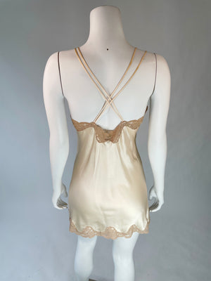 1980's Champagne Silk Lace Chemise/Nightie