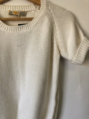 80's White Cropped Cotton Sweater - S