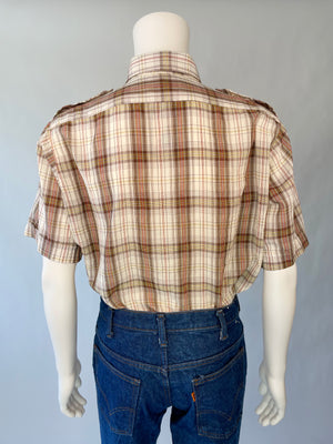 Brown Plaid Short Sleeve Button Up
