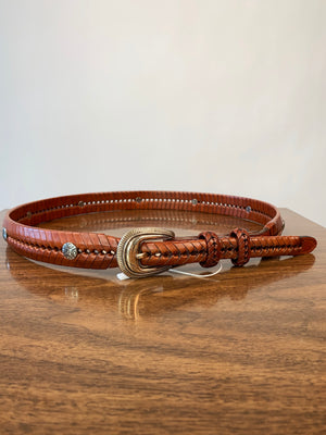 90's Brown Leather Herringbone Belt