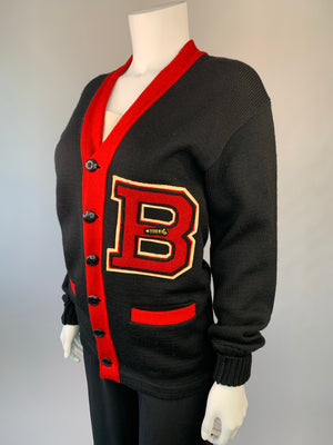 Red & Black Mid-Century Letterman Wool Cardigan