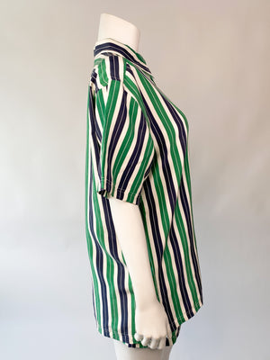 Green & Navy Silk Striped Pajama Set