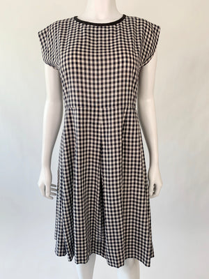 Mid-Century Navy & White Gingham Dress
