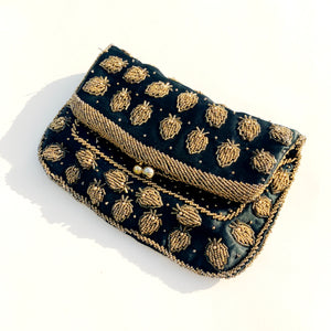 Beaded Satin Evening Bag