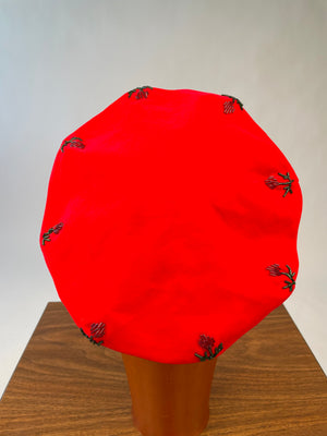 Mid-Century Red Velvet Beaded Beret