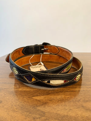 Multicolored Woven Leather Belt