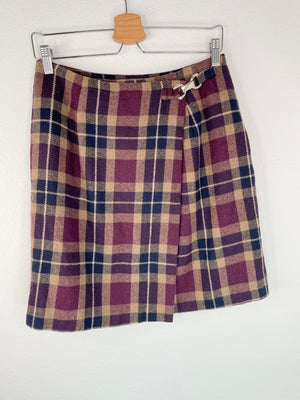 90's Wool-Blend Plaid Wrap Skirt