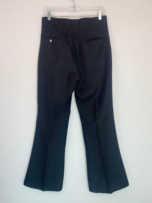 1970's High Waisted Black Slacks w/ Red Stitching
