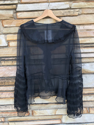 Sheer Black Blouse w/ Flamenco Sleeves - M