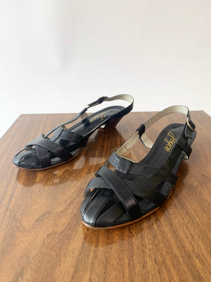 Black Strappy Leather 80's Sandals