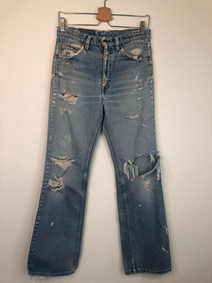 Perfectly Thrashed Levi's 517 Orange Tab Jeans