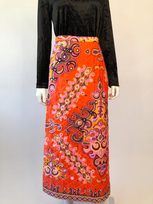 1960's Psychedelic Quilted Maxi Skirt