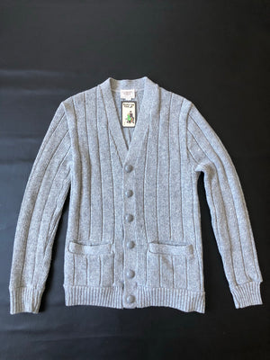 Gray Rib Knit Cardigan
