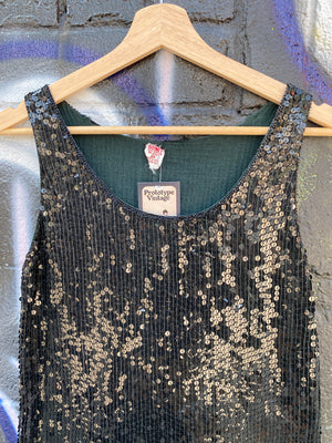 Classic Black Sequin Mini Dress - S
