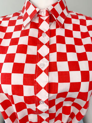 Red & White Checkerboard Short Sleeve Shirt