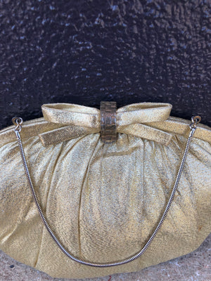 Mid-Century Gold Clamshell Evening Bag