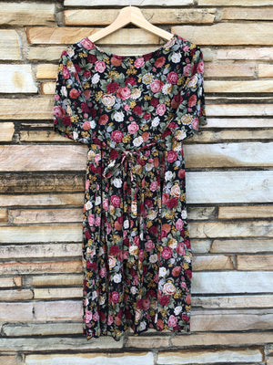Black & Maroon Floral 90's Baby Doll Dress - M