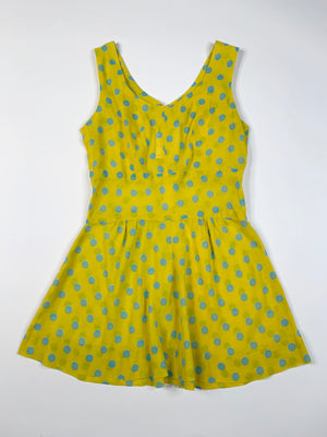Kiddo Yellow & Blue Polka Dot Dress - 10
