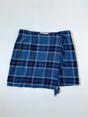 90's Express Blue Plaid Fringey Wrap Skirt