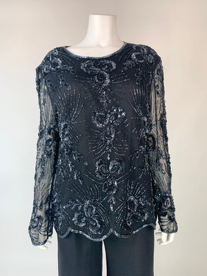 Black Silk Beaded Party Top w/ Sheer Sleeves