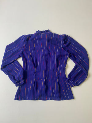 Semi Sheer Purple Striped Blouse - L