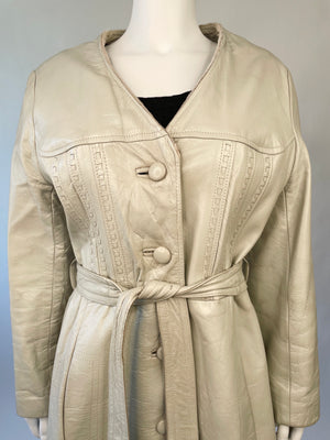 Grey Leather Sash-Tie Coat