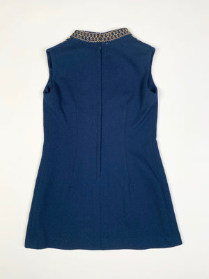 60's Navy Embroidered Mini Dress - M
