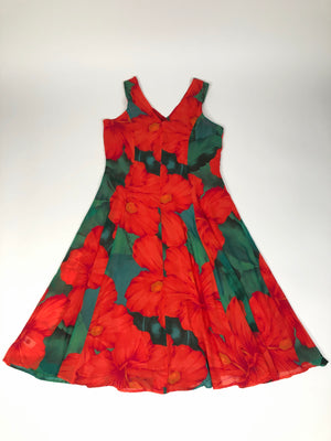 Red & Green Floral Dress - L