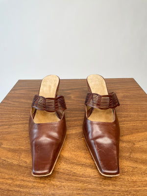 Extra Pointy Brown Leather Slides