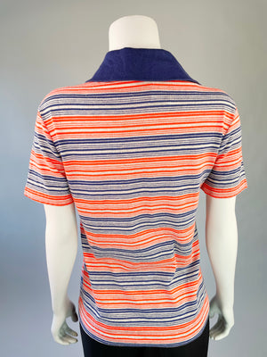 1970's Red, White & Navy Striped Polo Shirt