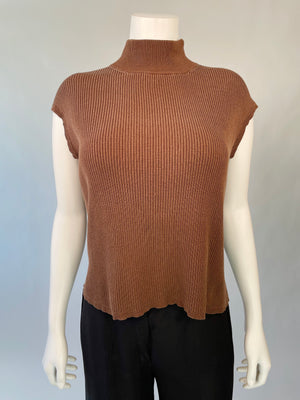 Y2K Brown Silk Rib Top