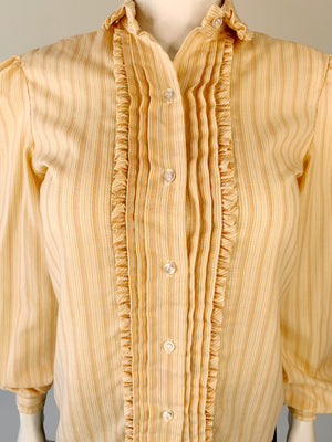 Peach Striped 1980's Ruffled Secretary Blouse
