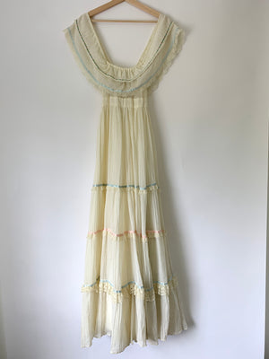 70's Cream Gunne Sax Dress w/ Floral Ribbon - XS