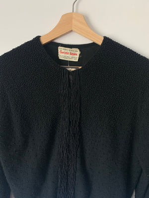 Beautiful Black Beaded Fringe Mid-Century Cardigan - S