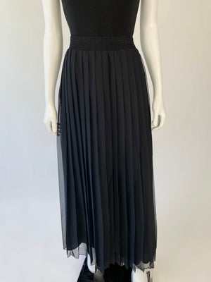 Black Sheer Accordion Pleat Maxi Skirt