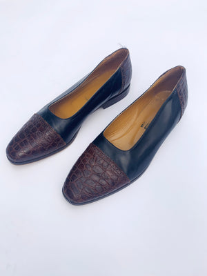 Black & Brown Leather Flats