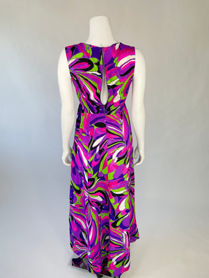 1960's Acid Bright Psychedelic Maxi Dress