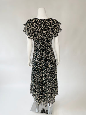 90's Black Floral Flutter Collar Dress