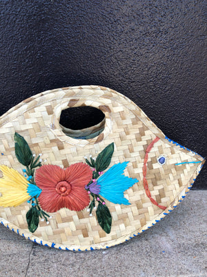 Tropical Woven Fish Tote