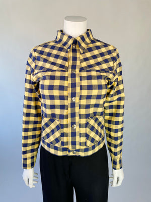 1970's Navy & Yellow Gingham Jacket w/ Pockets